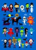 Monsters Mash Halloween Characters stock illustration