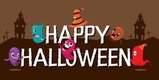 Monsters met Halloween-Alfabetten vector illustratie