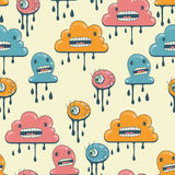 Monsters modern seamless pattern in retro style Royalty Free Stock Photos