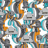 Monsters modern seamless pattern in retro style vector illustration