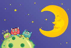 Monsters and a moon Royalty Free Stock Photography