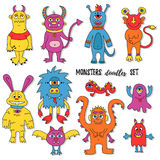 Monsters mutants doodles set Royalty Free Stock Photos