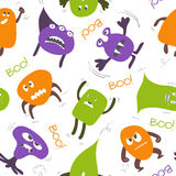 Monsters Naadloos Patroon op Wit Royalty-vrije Stock Afbeelding