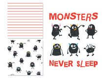 Monsters never sleep. Surface design and 2 seamless patterns. Use for print design, surface design, fashion kids wear. Vector illustration royalty free illustration