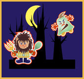Monsters. Monsters in the night, vector illustration Royalty Free Stock Photo