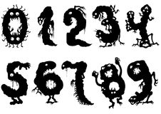 Monsters numbers set. Illustration symbols zero to nine. Black pictographic figures like monsters with eyes Stock Photo