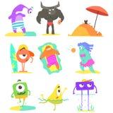 Monsters op de Geplaatste Strandillustraties Stock Foto