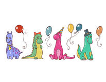 Monsters' party. A  illustration of four pretty little monsters with some balloons Stock Photography