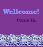 Monsters pattern border. Funny monsters pattern border on violet background Royalty Free Stock Photos