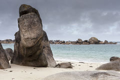 Monsters. Peculiar rock formation coastline in Brittany Stock Photos