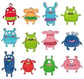 Monsters Pets Collection. Cartoon characters isolated objects over white. Artistic work. Watercolors on paper Royalty Free Stock Photography