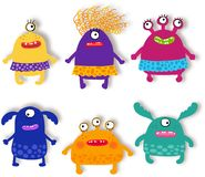 Monsters Pets Collection. Cartoon characters over white. Cartoon characters over white background Royalty Free Stock Photography