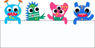 Monsters with a placard. Colourful funny monsters with a placard Royalty Free Stock Image