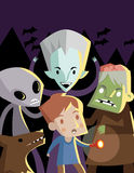 Monsters scaring a boy in the night Stock Photos