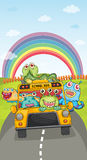 Monsters, school bus and rainbow Stock Photography