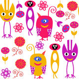 Monsters seamless pattern and seamless pattern in swatch menu, v Royalty Free Stock Image