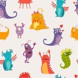 Monsters seamless pattern vector illustration Stock Photo