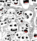 Monsters seamless vector pattern in black and white. Funny monsters seamless vector pattern in black and white Royalty Free Stock Photos