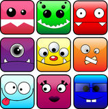 Monsters Set. 9 vector icons of monsters. eps 10 Royalty Free Stock Image