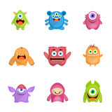 Monsters Set Flat Royalty Free Stock Images