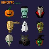 Monsters set of icons Stock Photos