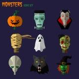Monsters set of icons. Halloween monster set of icons pumpkin, ghost Dracula zombi werewolf Frankenstein's monster alien mummy Stock Photos