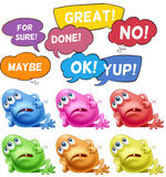 Monsters and speech bubbles Royalty Free Stock Photos