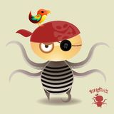 Monsters - Tentacle Pirate Boy. Tentacle Pirate Boy and his loyal parrot Stock Image