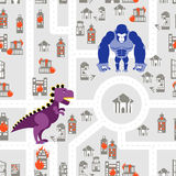 Monsters to destroy city seamless pattern. Godzilla and King Kon Stock Images