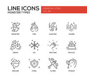 Monsters Types - line design icons set Royalty Free Stock Image