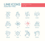 Monsters Types - line design icons set Royalty Free Stock Photos