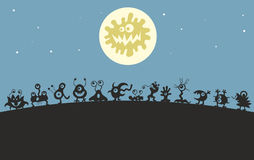Monsters under the moon Royalty Free Stock Photography