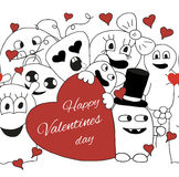 Monsters Valentine day. Seamless vector pattern in black and white Stock Image