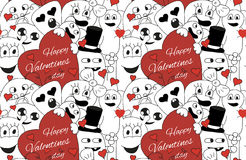 Monsters Valentine day. Seamless vector pattern in black and white Stock Photo