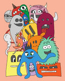 Monsters. vector illustration. Group of Monsters. Colorful vector illustration in bright colors Stock Image