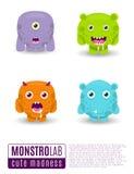 Monsters vector set. Cute cartoon monsters. Stock Photos