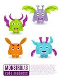 Monsters vector set. Cute cartoon monsters. Stock Images