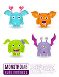 Monsters vector set. Cute cartoon monsters. Royalty Free Stock Photography