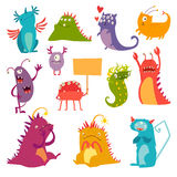Monsters vector set. Kids cartoon toy, colorful cute character Stock Images