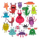 Monsters vector set. Funny and cute monsters Stock Image