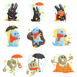 Monsters Walkng Outdoors In Autumn. Funky Creatures Colorful Characters With Seasonal Atributes On White Background Stock Photo