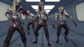 Monsters zombies girls. 3d render monsters zombies girls Royalty Free Stock Images