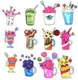 Monstershakes in jars. Big milkshakes hand drawn icons. Isolated design elements for drinks menu.  stock illustration