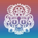 Monsterskalle med hjärnan av kugghjul royaltyfri illustrationer