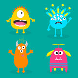 Monsteruppsättning Läskigt tecken för gullig tecknad film Behandla som ett barn samlingen Grön bakgrund kort lyckliga halloween P Arkivfoton