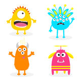 Monsteruppsättning Läskigt tecken för gullig tecknad film Behandla som ett barn samlingen Vit bakgrund kort lyckliga halloween Pl Royaltyfri Foto
