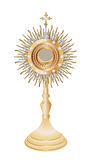 Monstrance. Liturgical vessel isolated gold monstrance Stock Photo