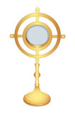 Monstrance. Isolated liturgical vessel - gold monstrance Stock Images