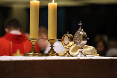 Monstrance with the body of Christ on the altar. During the distribution of Holy Communion Stock Image