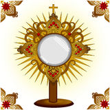 Monstrance. Church ceremonial gold isolated Stock Photography